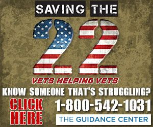 Every day, 22 veterans take their own life.  At The Guidance Center, we believe even one veteran suicide is one too many.   We are asking you, our local Veterans, to help us rescue our battle buddies from hopelessness and despair.  In the spirit of Vets helping Vets, we understand that no one is better equipped to know the specific needs of our valuable heroes than you.    Will you join us in this mission? Please call 479-420-1664 to help. 24/7 SUPPORT Crisis Line: 1-800-542-1031 Warm Line: 479-452-6655 VA Veterans Crisis Line: 1-800-273-8255, option 1 or text 838255